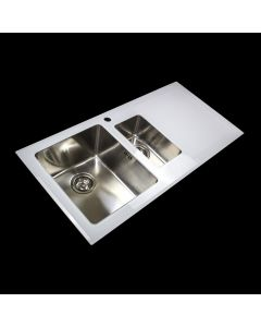 White 1.5 Bowl Reflection Glass Sink with Right or Left Drainer