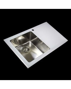 White Single Bowl Reflection Glass Sink with Right or Left Drainer